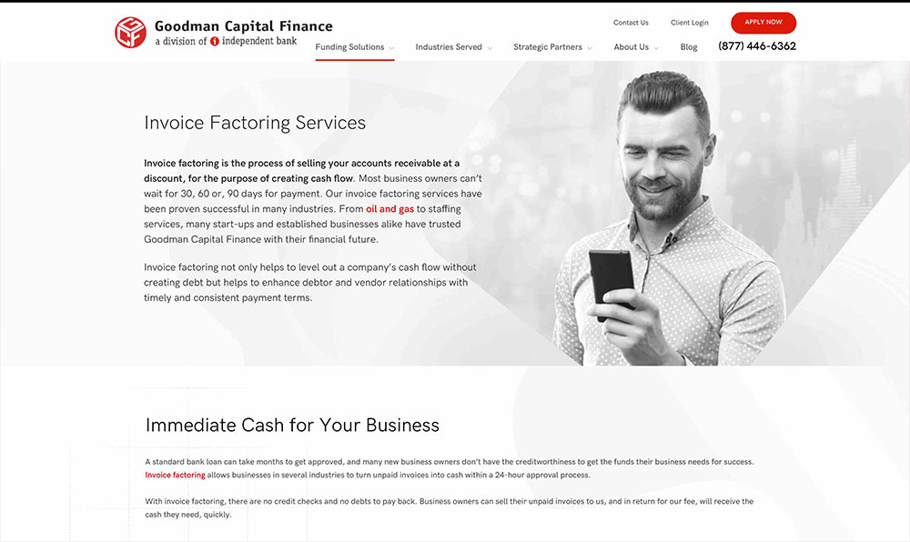 Goodman Capital Finance - Invoice Factoring Page