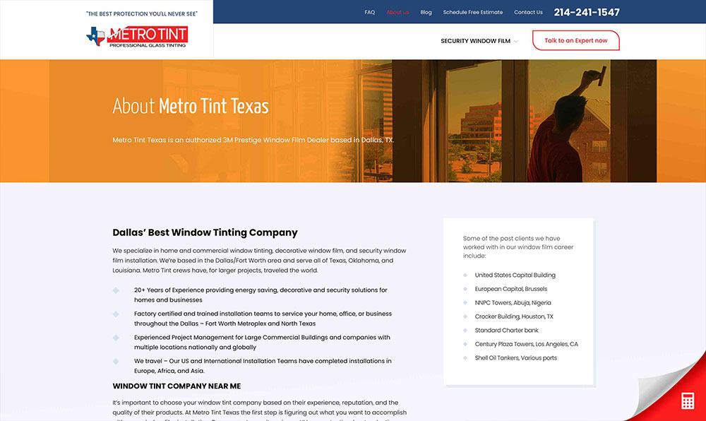 MetroTint - About Page